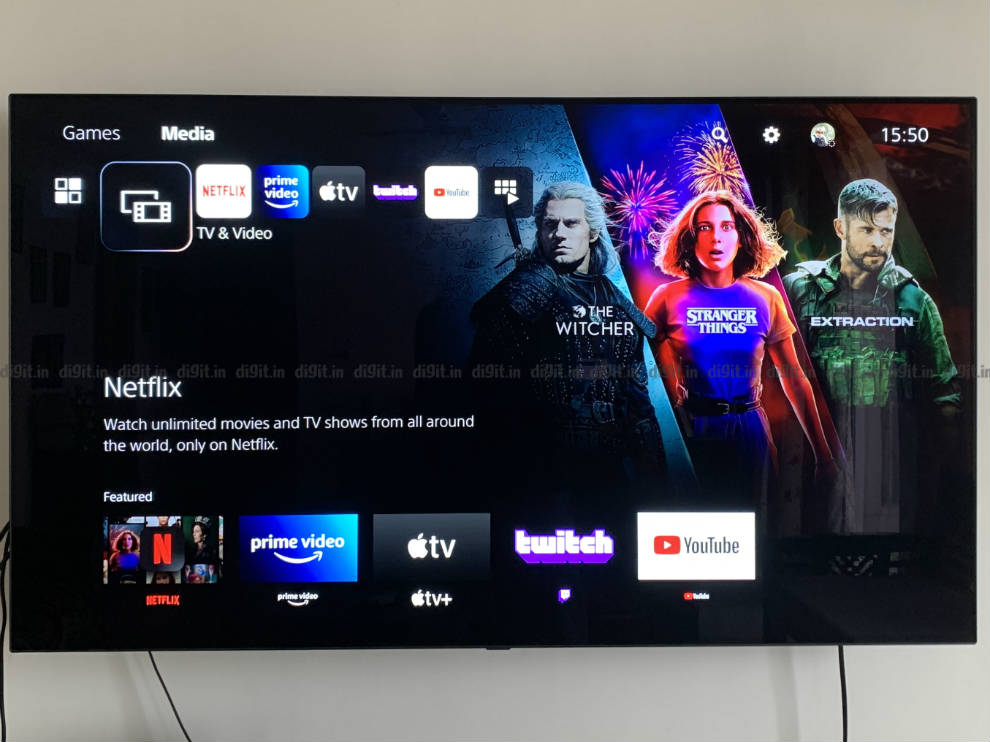 The media Tab houses all the streaming apps on the Ps5.