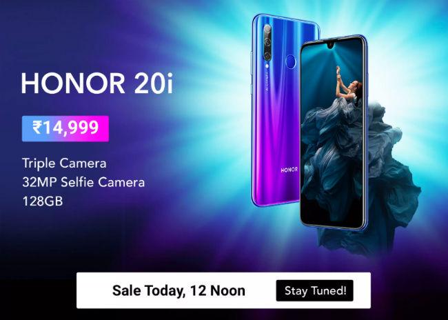 Honor 20i will go on sale at 12pm on Flipkart