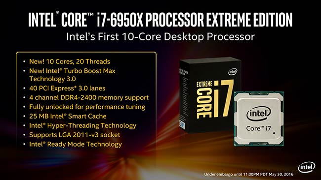 Intel displays 10-core 'Extreme Edition' Core i7 6950X and other