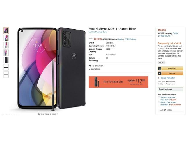 Moto G Stylus (2021) has been spotted in a listing on Amazon US website