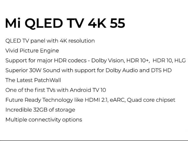 A quick look at the specs of the Mi QLED TV.