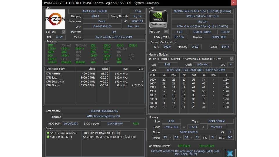 Lenovo Legion 5 specifications