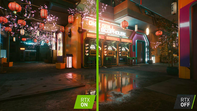 NVIDIA RTX ON and OFF in CyberPunk 2077 on ASUS ROG RTX 3080