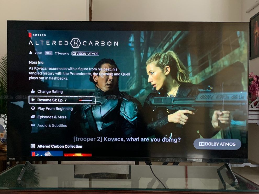 The Philips TV supports Dolby Vision and Dolby Atmos.