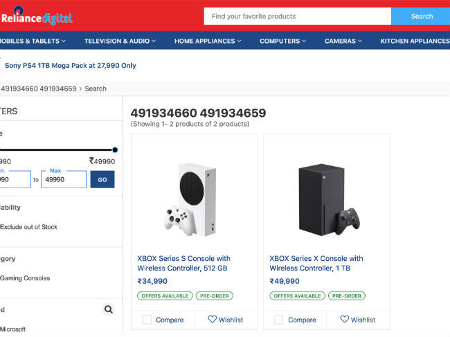 Pre-orders for the Xbox Series S and Series X is live on Reliance Digital online store.