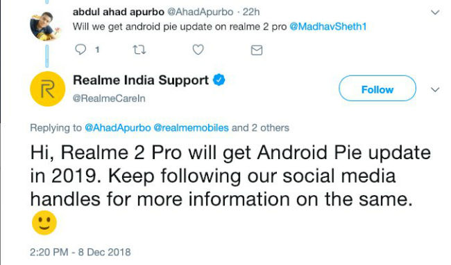 Realme 2 Pro will receive Android 9 Pie update in 2019 | Digit