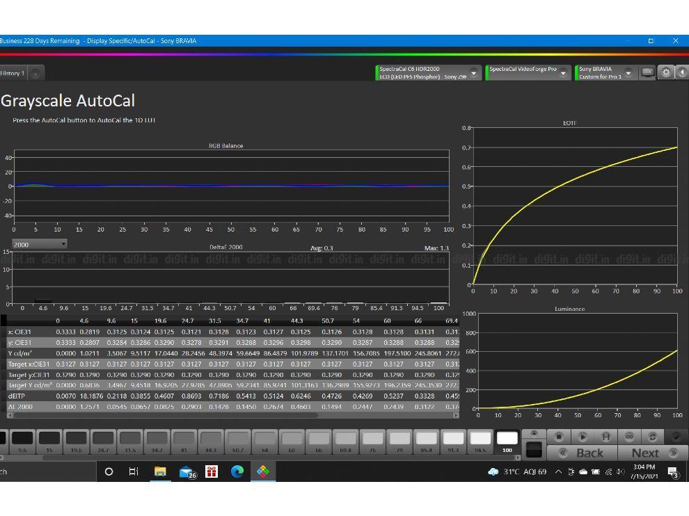 Calman grayscale analysis Sony X90J