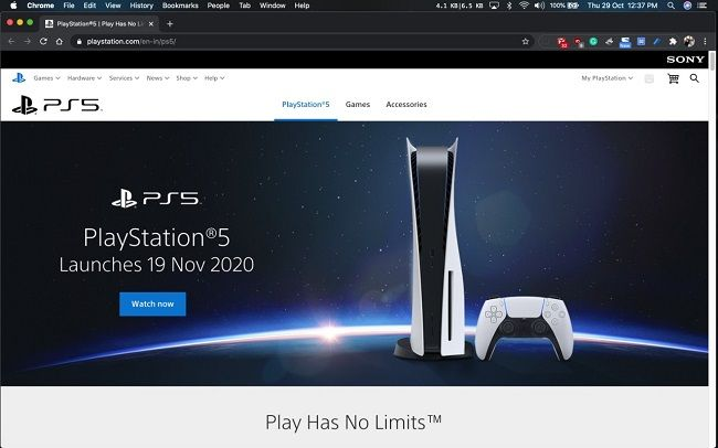 PlayStation 5 website posts Indian launch date, takes it down