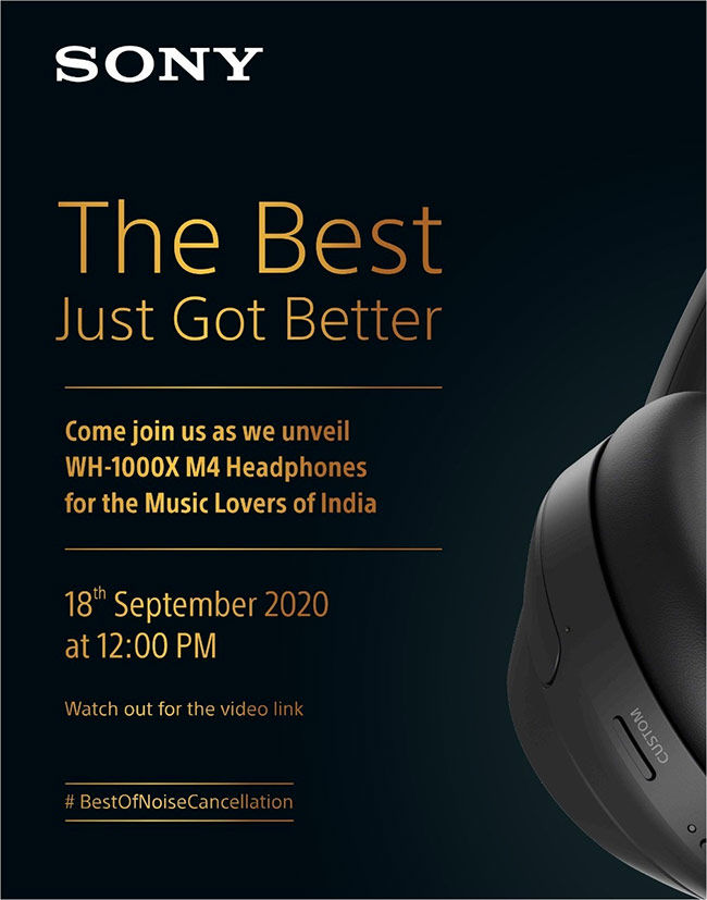 Sony WH-1000XM4 are launching in India on September 18