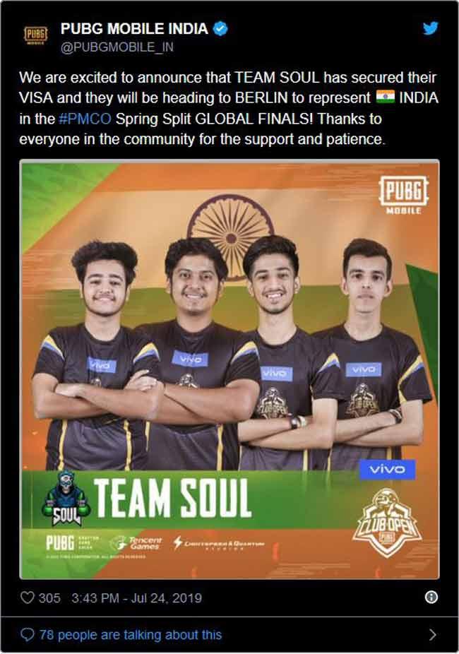 India PUBG Team Soul Berlin Visa PMCO 2019