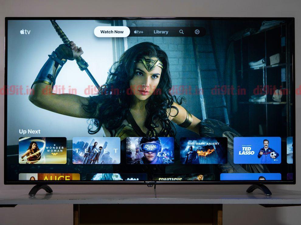 The Apple TV app runs smoothly on the AmazonBasics 55-inch TV.