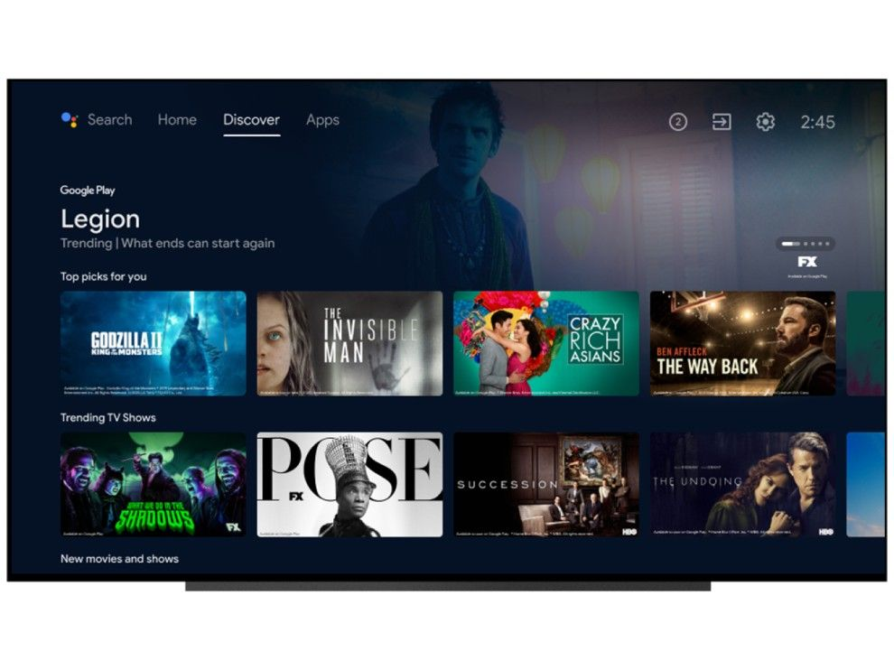 The Discover tab gives users personalized recommendations on the new Android TV UI.