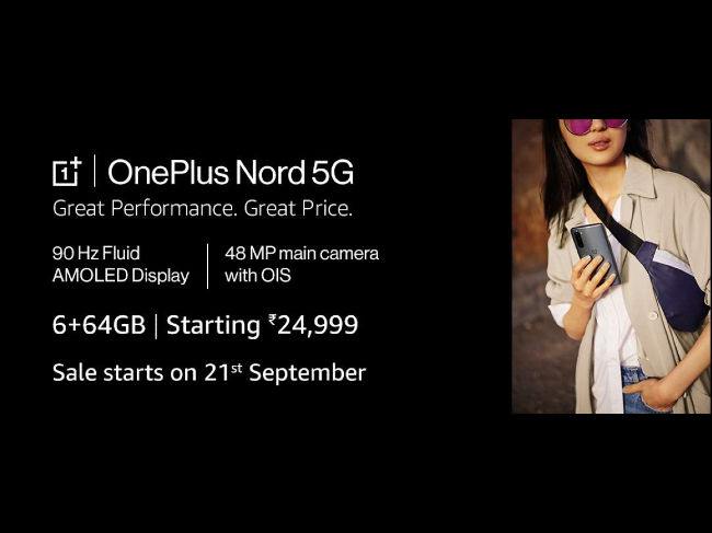 OnePlus Nord 6GB RAM variant sale on September 21 on Amazon India