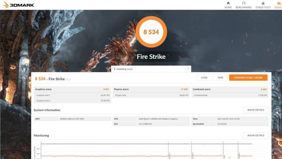 Lenovo Legion 5 3DMark Firestrike Test