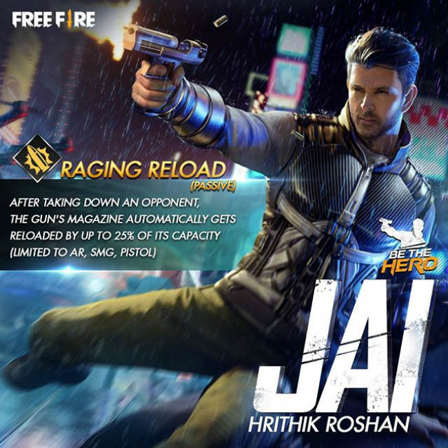Garena Free Fire has added a character called Jai that is based on Hritik Roshan