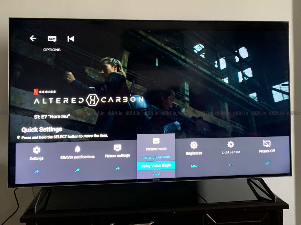 A simple, easy to use UI to change settings on the Sony X90H.