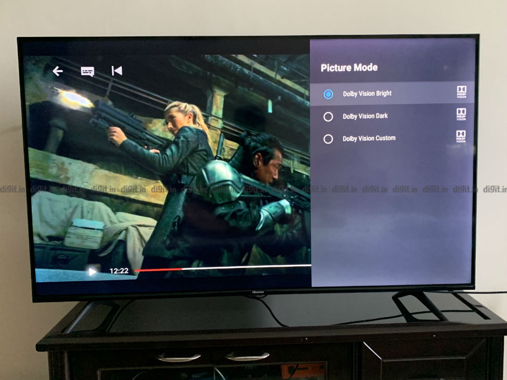 Dolby Vision Settings on the Hisense 55A71F TV.