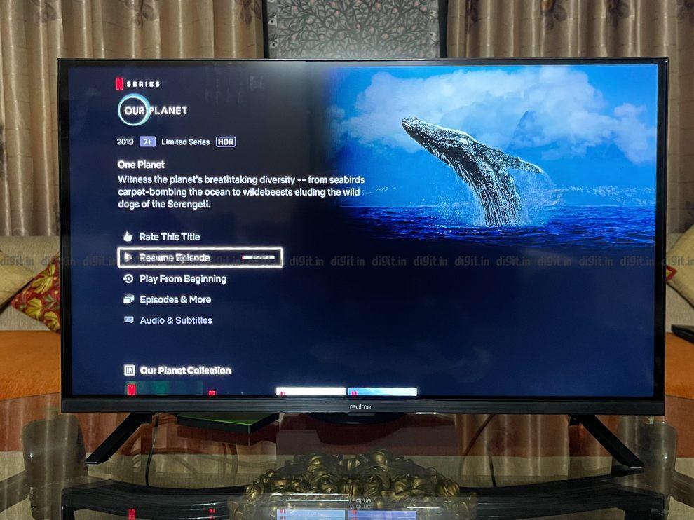Realme 32-इंच FHD TV HDR 10 को सपोर्ट करता है लेकिन Dolby Vision को नहीं।