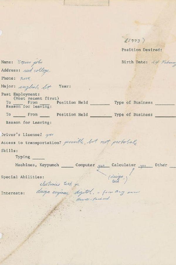 Steve Job's 1973 job application