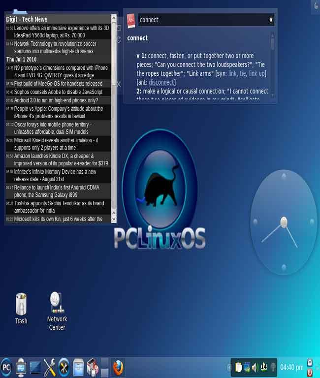 pclinuxos desktop widgets