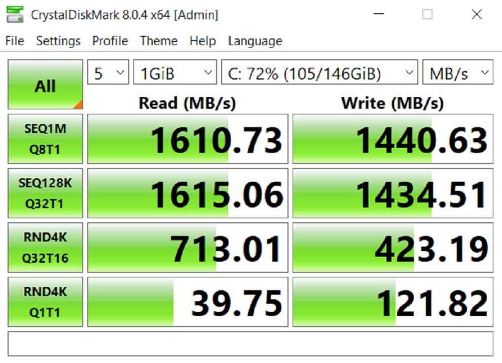 RedmiBook 15 Pro CrystalDiskMark