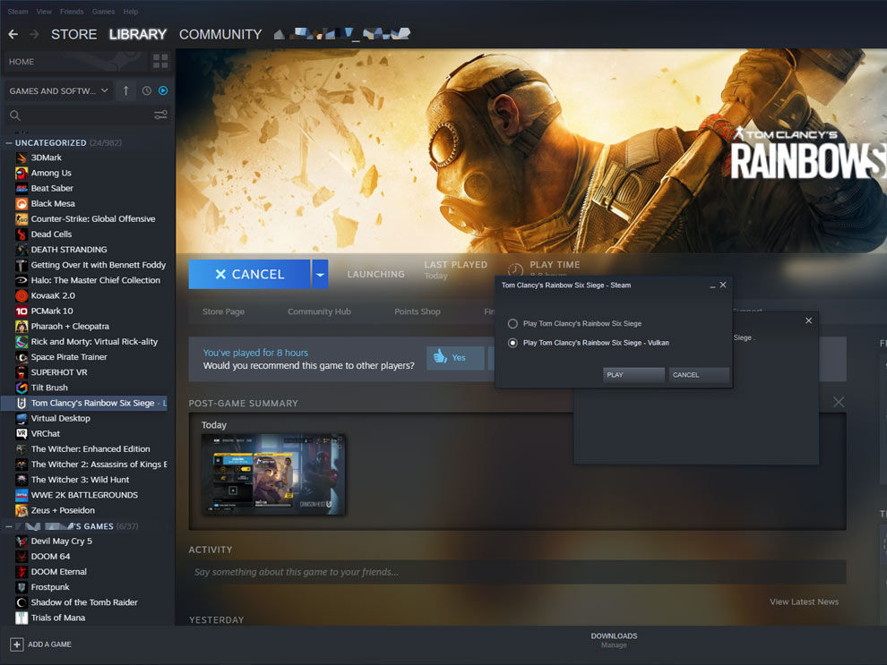 NVIDIA Reflex Tom Clancy's Rainbow Six Siege Vulkan