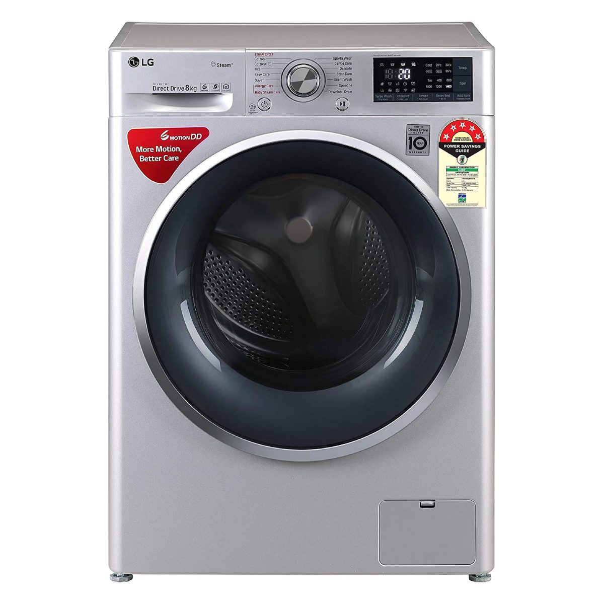 LG 8 kg 5 Star Inverter Wi-Fi Fully-Automatic Front Loading Washing Machine (FHT1408ZWL)