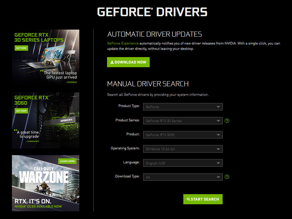 NVIDIA GeForce Graphics Card Drivers