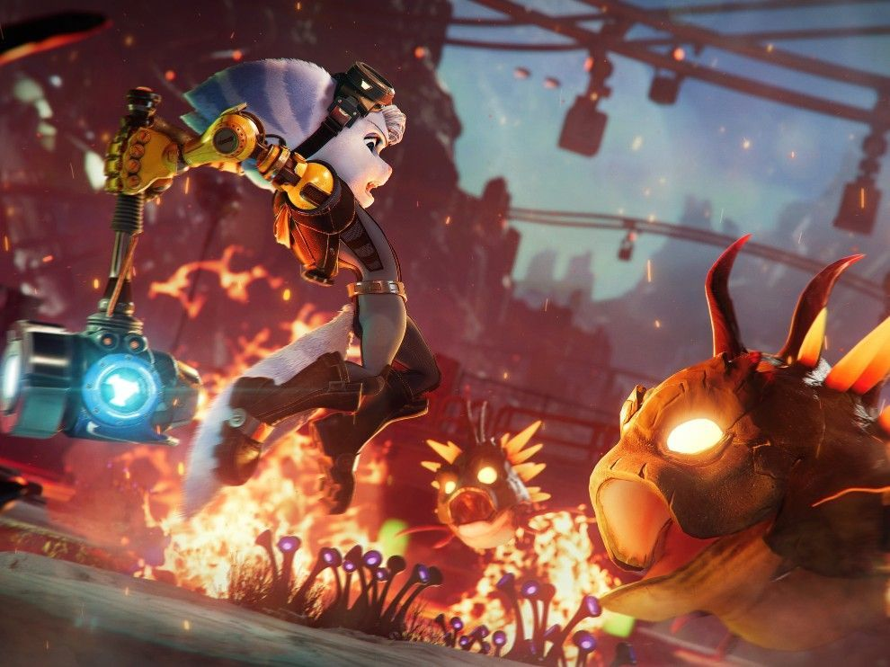 Melee combat is still a thing in Ratchet and Clank Rift Apart.