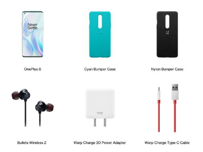 OnePlus 8 series pop-up box contains the OnePlus 8/OnePlus 8 Pro, Bullets Wireles Z, Warp Charge 30 Power Adapter, Warp Charge Type-C cable, back cases