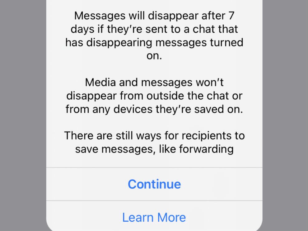 Disappearing messages in WhatsApp have vanish after 7 days.