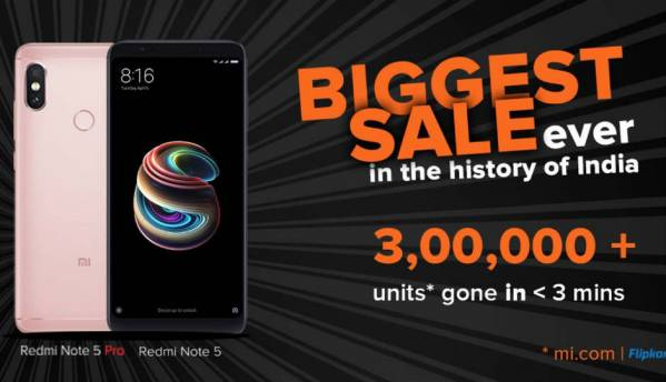 Xiaomi sold over 3 lakh Redmi Note 5, Note 5 Pro in 3 minutes while Mi TV 4 sold out in less than 10 seconds