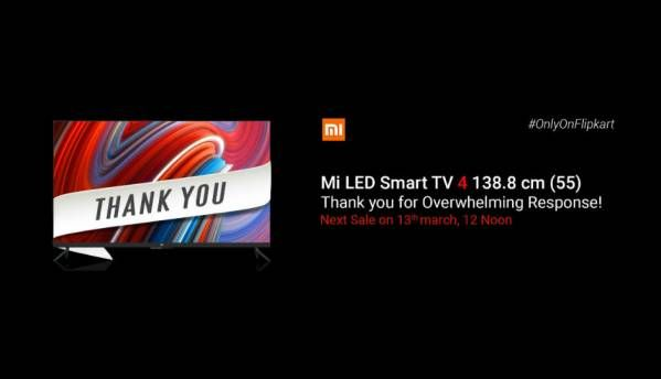 Xiaomi Mi LED  Smart TV 4 sold out within minutes, might still be available at Mi Homes