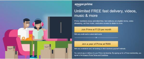 Amazon Prime membership now available at Rs 129 per month