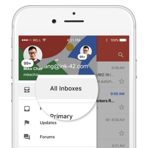 Gmail for iOS users can now toggle between multiple accounts from a single inbox