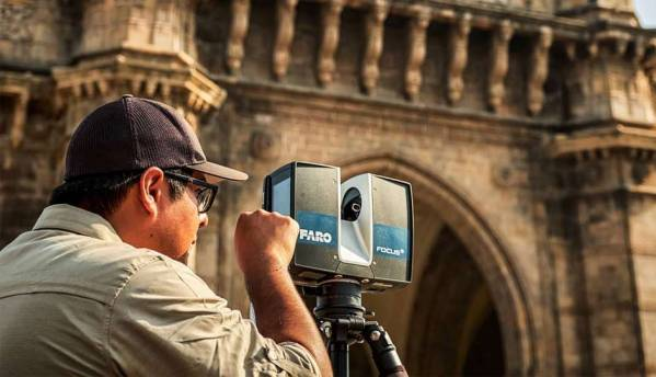 Digitising the Gateway of India using laser scans and drone flybys