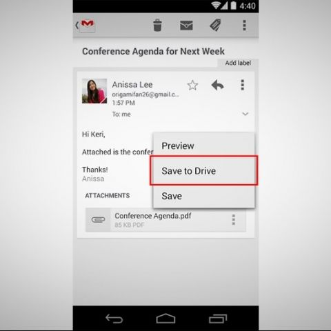 Gmail for Android now lets you save attachments to Google Drive