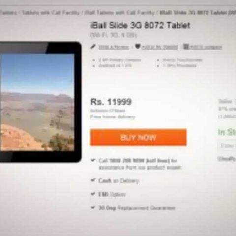 iBall Slide 3G 8072 voice calling tablet spotted online for Rs. 11,999