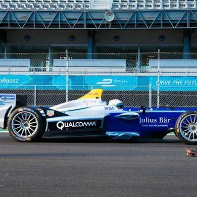 Watch Bruno Senna take on a Formula E race car with a drone
