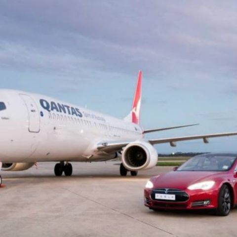 Qantas' Super Race pits a Boeing aircraft against the Tesla Model S