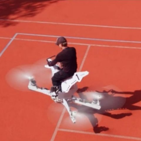 Check out this dangerous looking, but functional Hoverbike