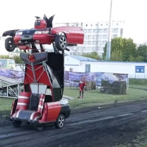 The Russian father-son duo's Transformers car is the one vehicle you wouldn't want to be autonomous
