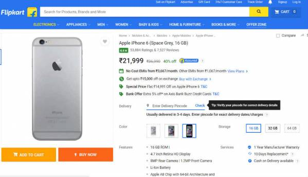 Flipkart offers Apple iPhone 6 at Rs. 21,999 as a special deal for Father's Day