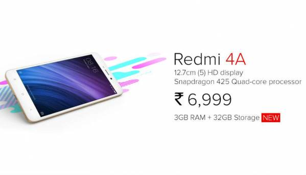 Xiaomi announces Redmi 4A with 3GB RAM and 32GB storage at Rs 6,999