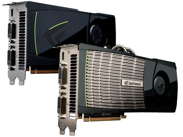 Nvidia GeForce GTX 470 on the left, and the GTX 480 on the right