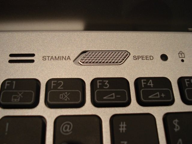 The top left hand portion of the keypad showing the Performance Switch on the Sony VAIO S Series