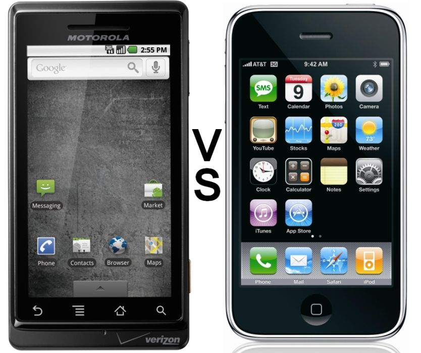 Motorola Verizon Droid vs. Apple iPhone comparison