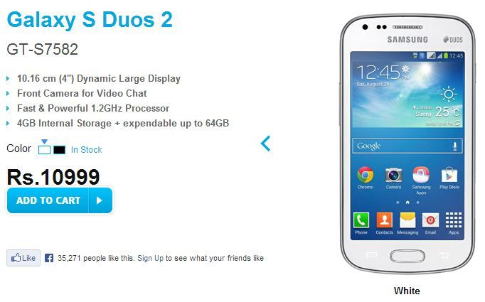 Samsung Galaxy S Duos 2 4 Inch Dual Core Smartphone Available For Rs 10999