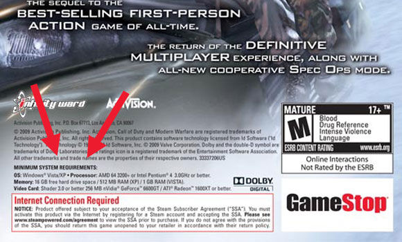 Modern Warfare 2 back cover Gamespot