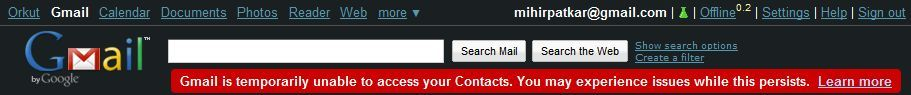 Gmail Contacts Inaccessible